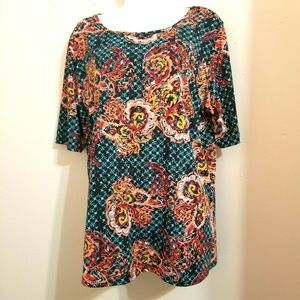 LulaRoe Gigi Blouse Top Shirt Vibrant Size 3XL C7E
